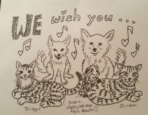 Hand-drawn holiday greeting card depicts a household of 2 chihuahuas, 2 stripey cats & 1 guinea pig from Heaven